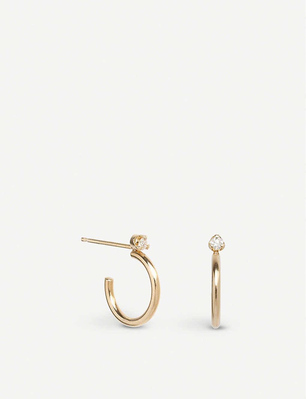 THE ALKEMISTRY: Zoë Chicco 14ct yellow-gold and diamond hoop earrings