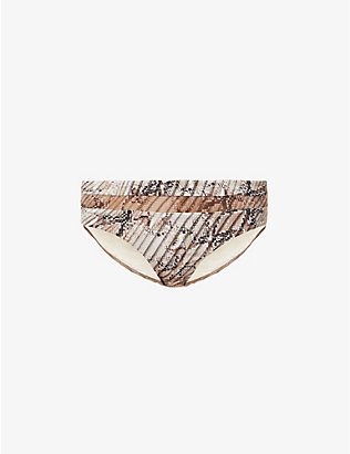 JETS BY JESSIKA ALLEN: Awakening snake-print high-rise bikini bottoms