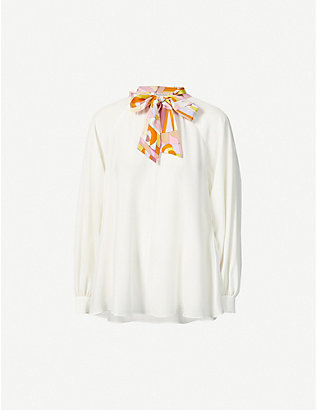 EMILIO PUCCI: Pussy-bow silk-crepe blouse