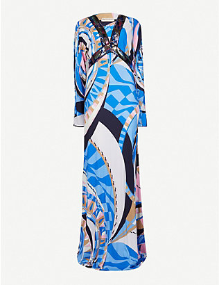 EMILIO PUCCI: Printed satin maxi dress