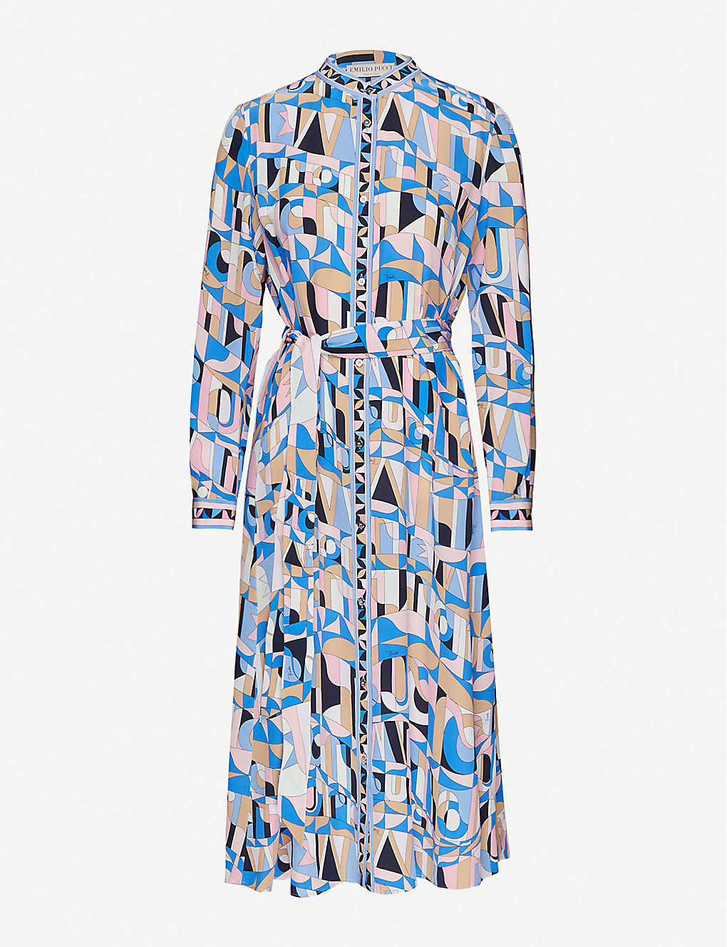 EMILIO PUCCI: Printed silk-satin midi shirt dress