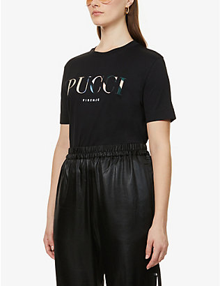 EMILIO PUCCI: Logo-print cotton and silk-blend jersey T-shirt