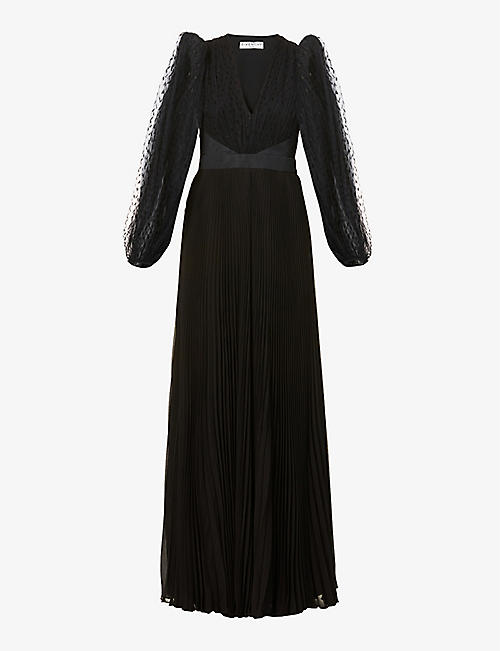 GIVENCHY: Polka-dot silk and lace gown