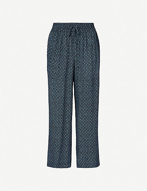 WHISTLES: Lattice-print straight-leg high-rise crepe trousers