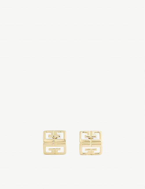 SUSAN CAPLAN: Givenchy logo-motif 18ct gold-plated brass earrings