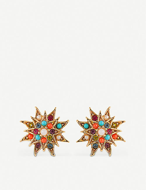 SUSAN CAPLAN: D'Orlan star-shaped 22 carat gold-plated earrings