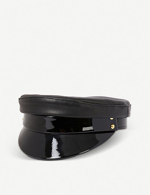 MANOKHI: Officer patent leather cap