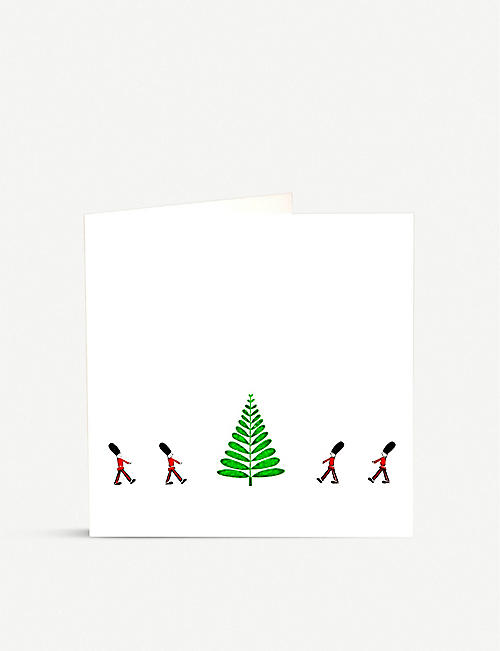 JULIE BELL: Pack of 10 soldiers and tree-print greetings cards 14.8cm x 14.8cm