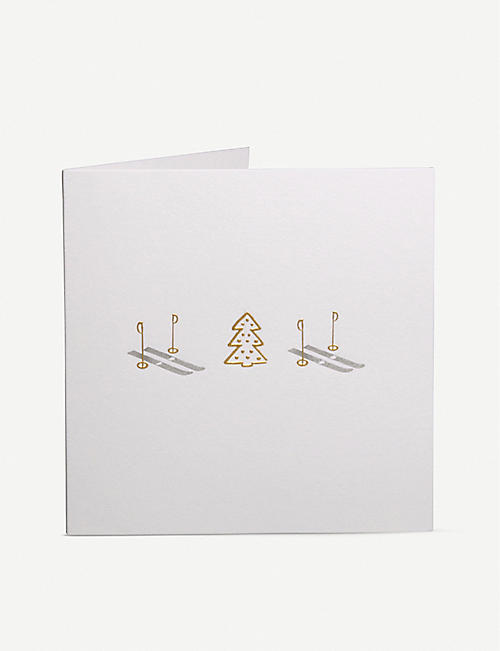 JULIE BELL: Pack of 10 Ski and Tree greetings cards 14.8cm x 14.8cm