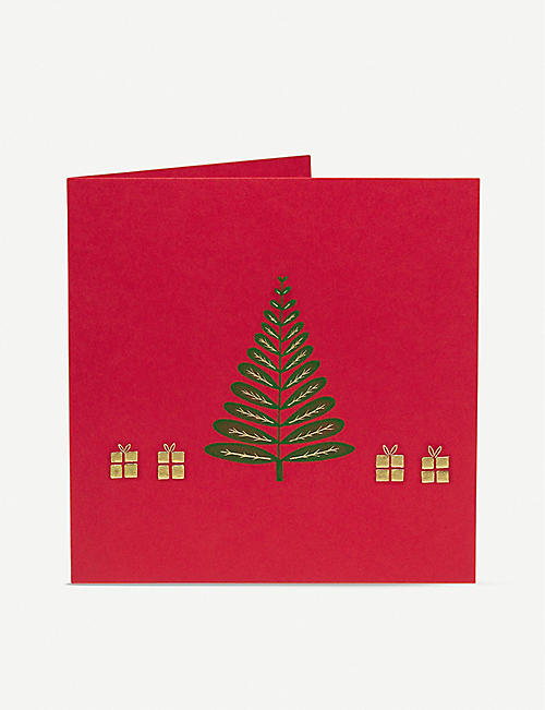 JULIE BELL: Tree And Presents engraved Christmas cards pack of 10