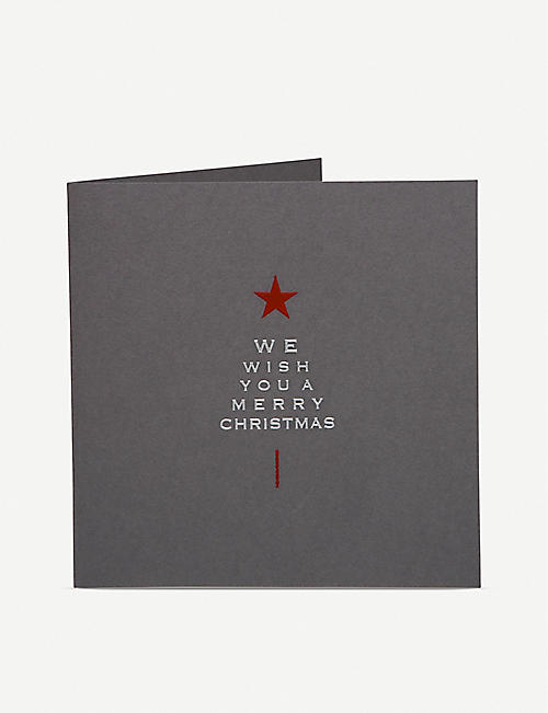 JULIE BELL: Typographic tree Christmas cards pack of 10