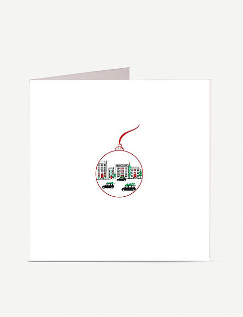 JULIE BELL: Bauble Taxis greetings card 14.8cm x 14.8cm