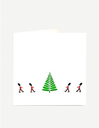 JULIE BELL: Soldiers and Tree Christmas greetings card 14.8cm x 14.8cm