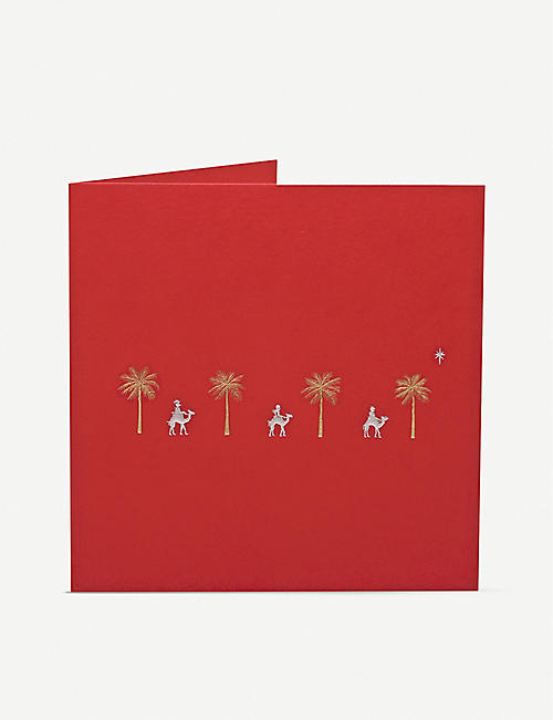 JULIE BELL: Three Kings & Palm Trees greetings card 14.8cm x 14.8cm