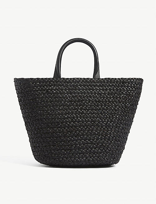 CESTA COLLECTIVE: Top handle mini raffia basket tote