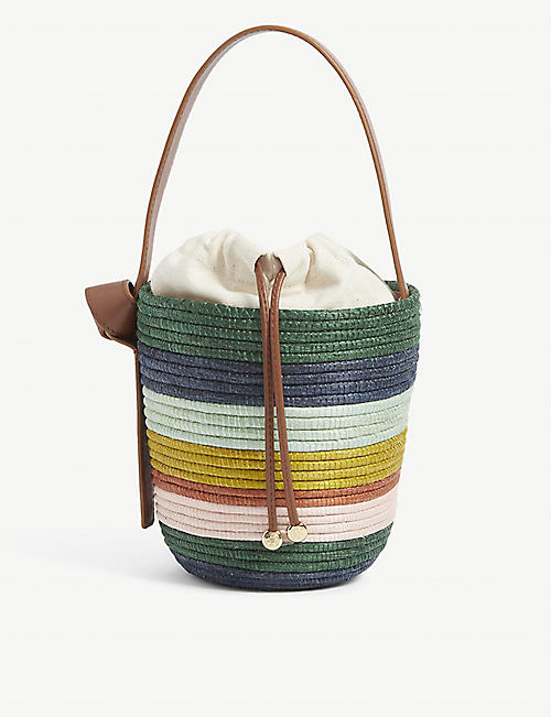 CESTA COLLECTIVE: Lunchpail striped raffia and leather bucket bag
