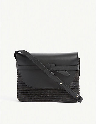 CESTA COLLECTIVE: Leather and raffia cross-body bag