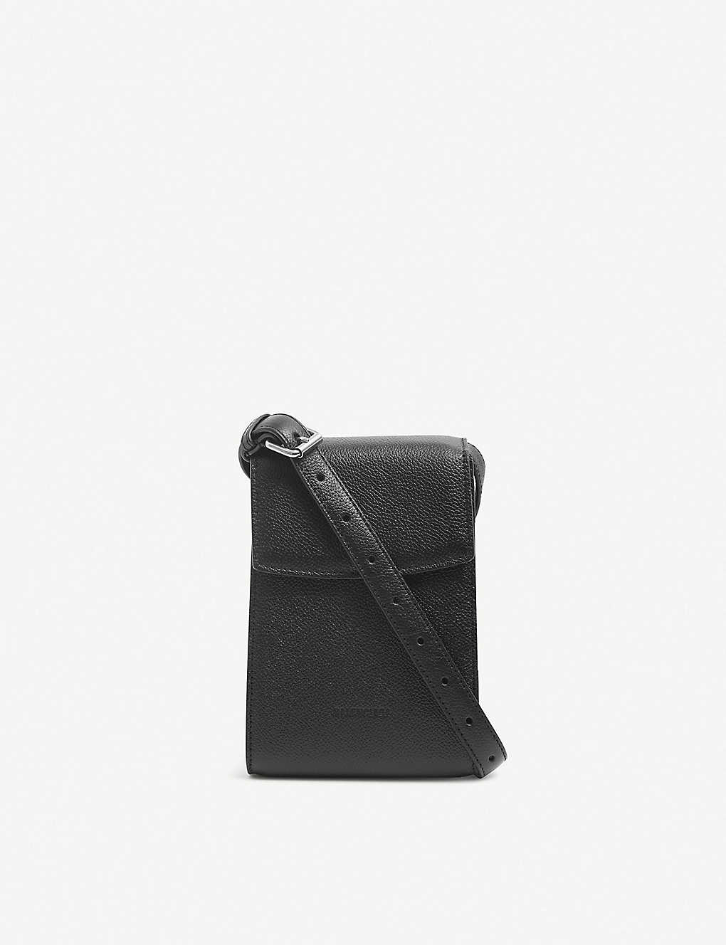 BALENCIAGA: Grained leather phone holder