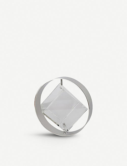 DZINE BAGS: Square Sphere spinning stainless-steel and plexiglass square bag