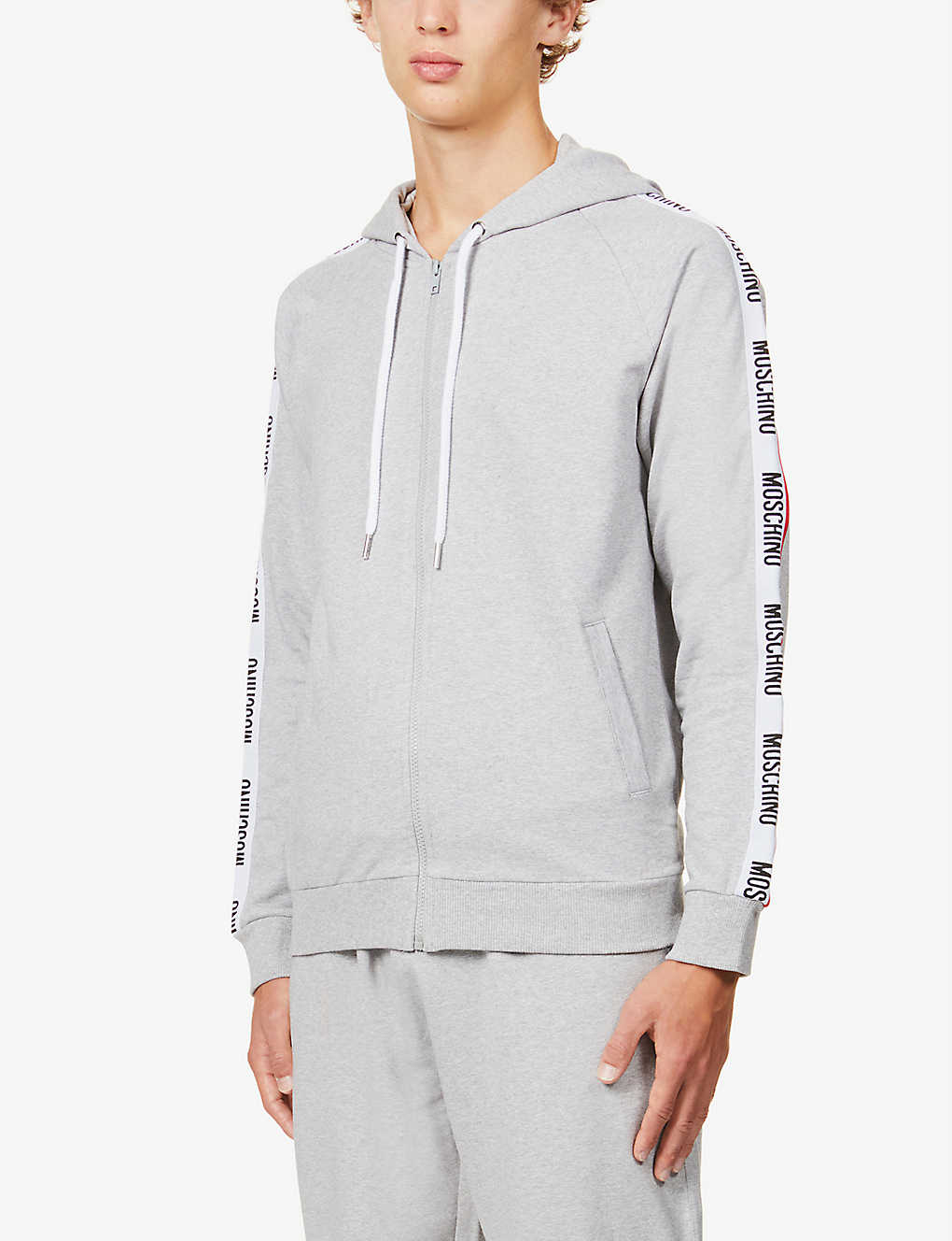 MOSCHINO: Branded-tape cotton-blend hoody