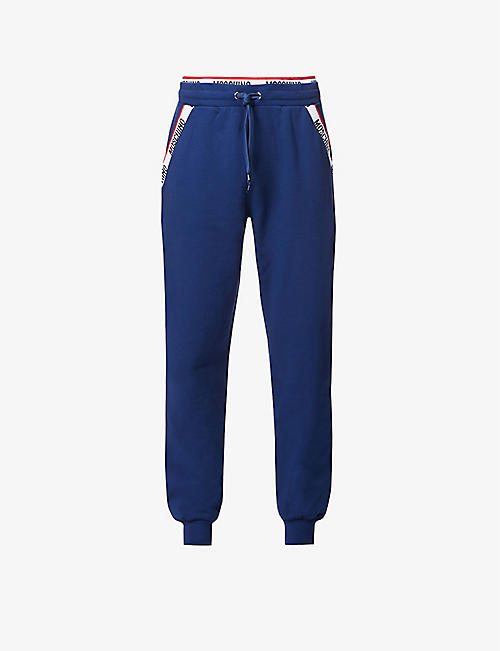 MOSCHINO: Branded-tape cotton-blend jogging bottoms