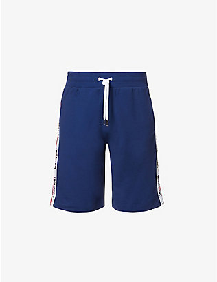 MOSCHINO: Branded-tape cotton-blend jersey shorts