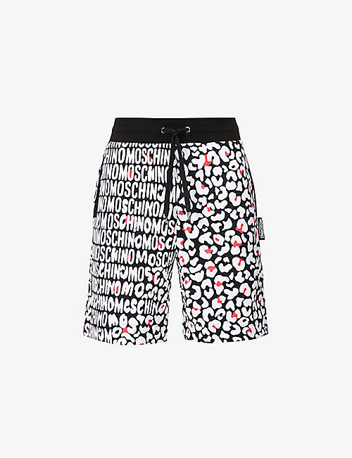 MOSCHINO: Graphic-print straight cotton-jersey shorts