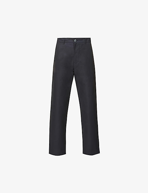 RILEY STUDIO: Tailored high-rise straight leg organic cotton trousers