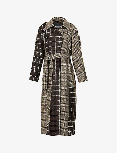 FRENKEN: Lover houndstooth and tartan-print wool-blend coat