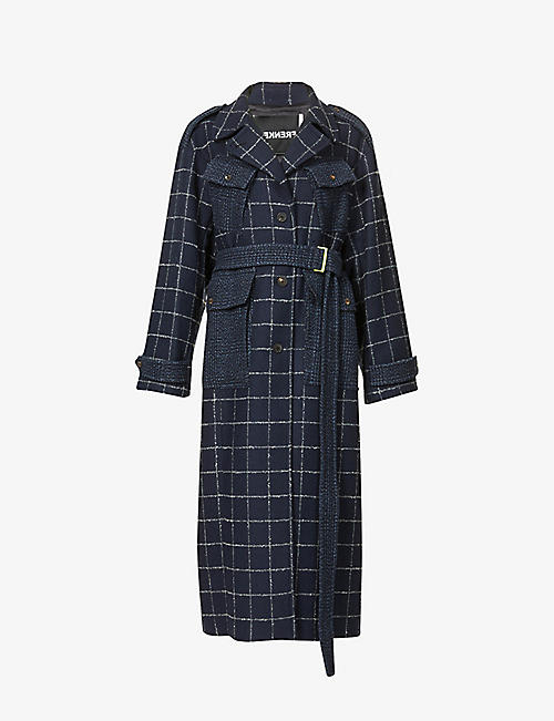 FRENKEN: Affection tartan-print woven coat