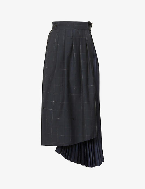 FRENKEN: Crush checked and pleated high-waist wool-blend midi skirt