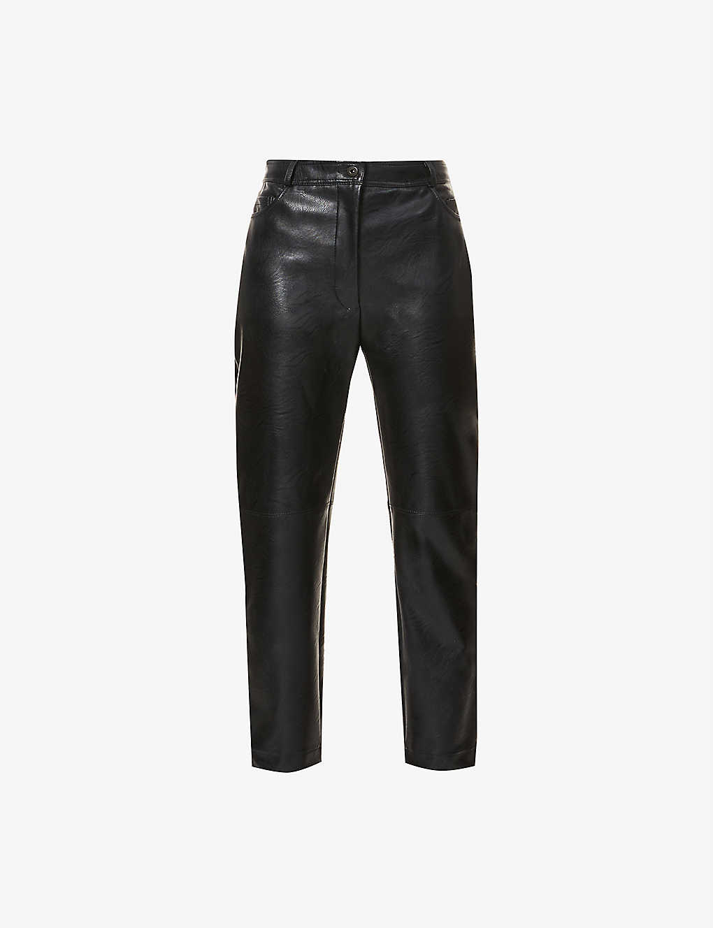 High Rise Faux Leather Trousers