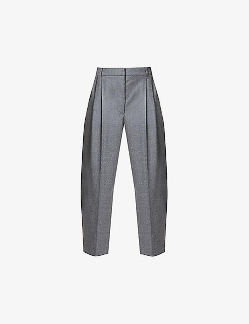 STELLA MCCARTNEY: Pleated high-rise tapered wool trousers