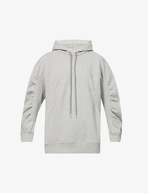 STELLA MCCARTNEY: Ruched-sleeve cotton-jersey hoody