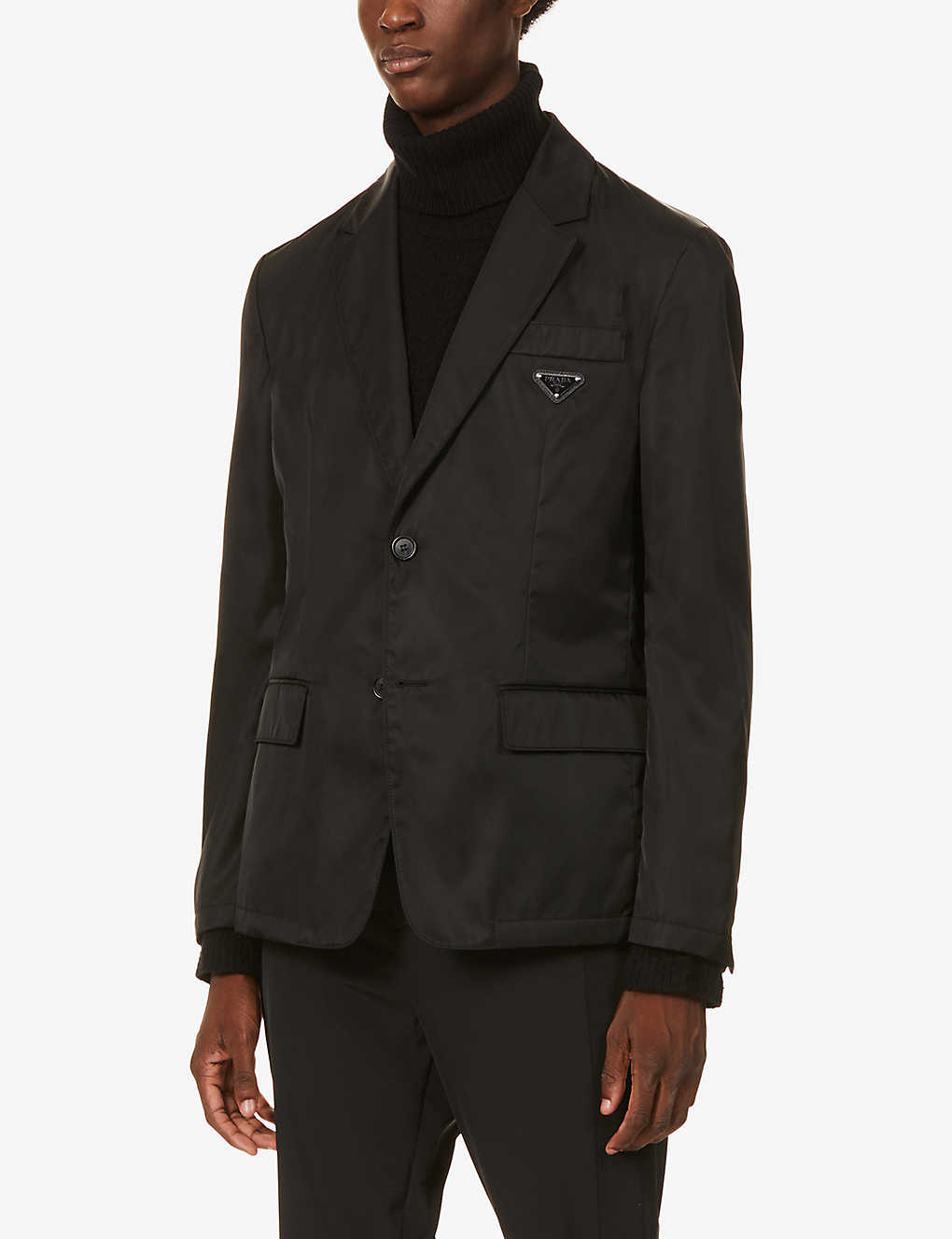 PRADA: Logo-patch recycled-nylon blazer