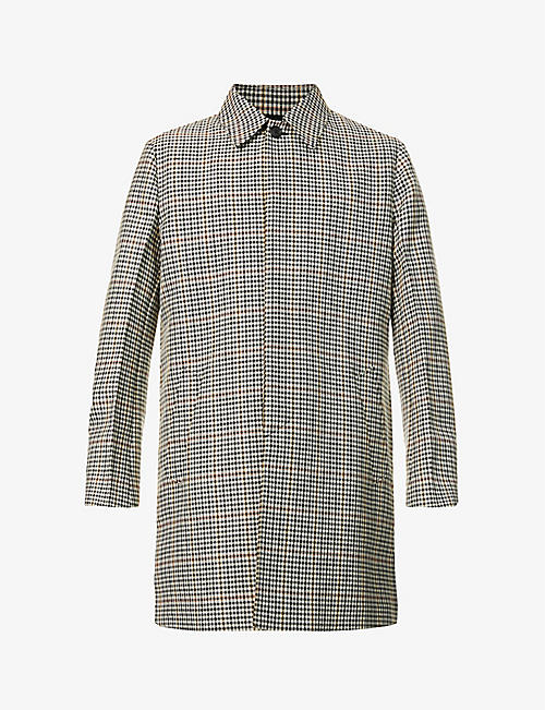 PRADA: Shepherd's check pattern wool-blend trench coat