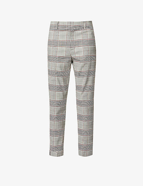 MONSE: Plaid-print straight high-rise wool-blend trousers