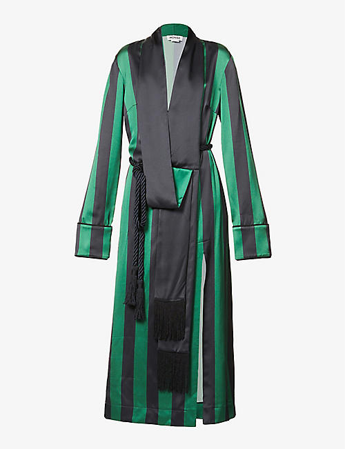 MONSE: Striped robe satin-crepe maxi dress
