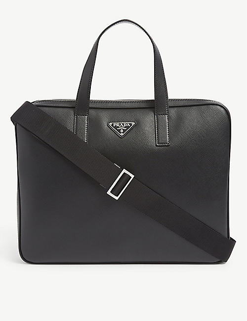 PRADA: Brand-plaque zipped leather briefcase