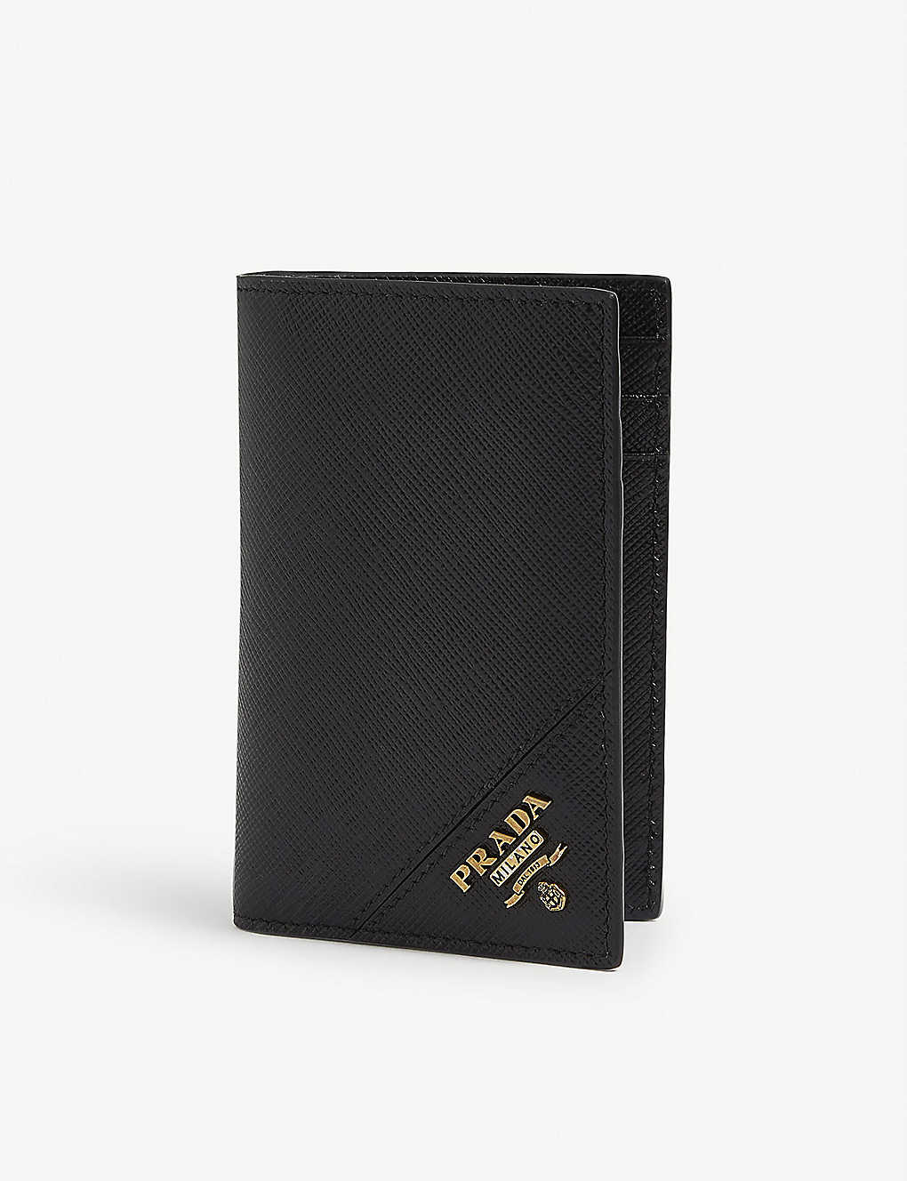 PRADA: Logo-badge leather cardholder