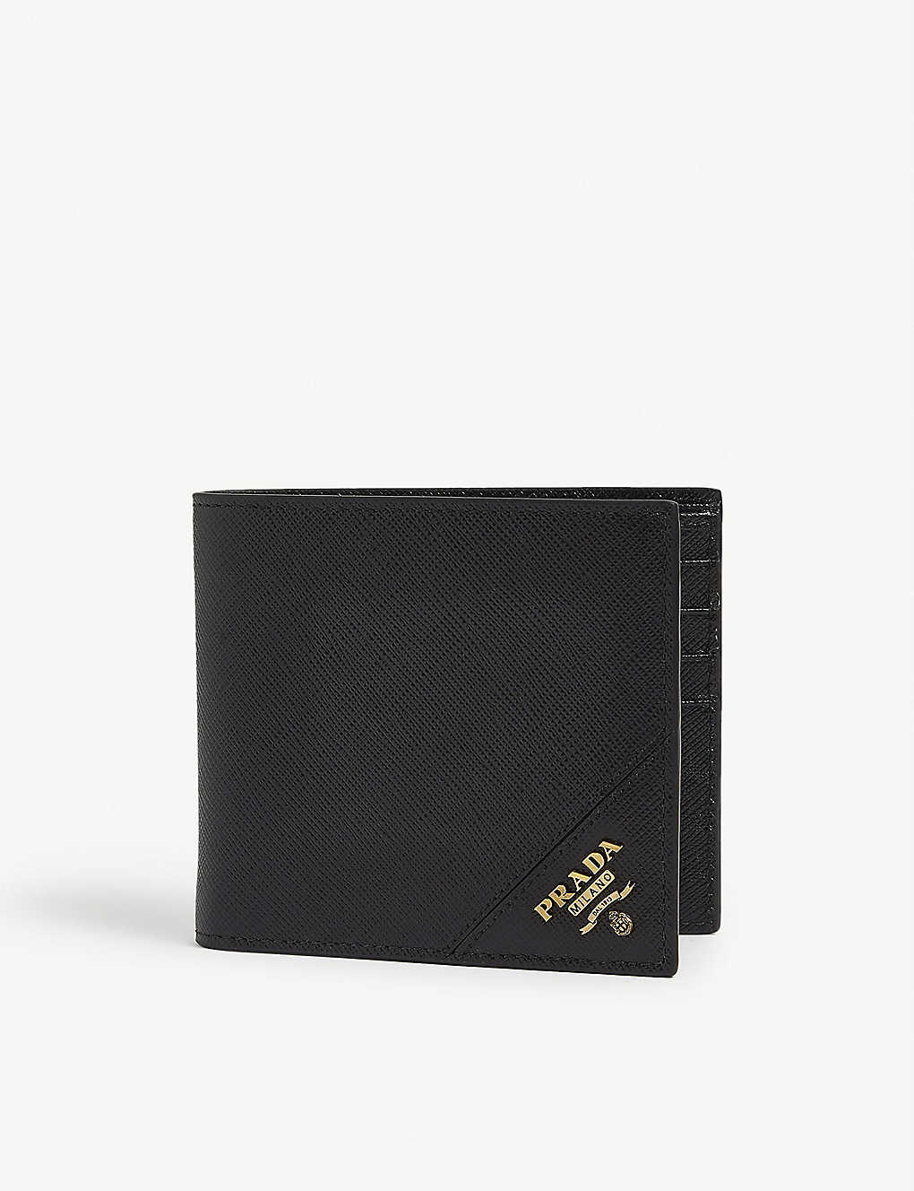 PRADA: Logo-badge leather bifold wallet