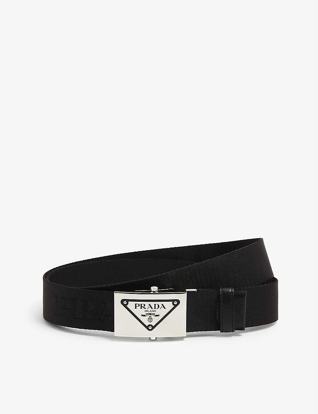 PRADA: Logo-buckle nylon and leather belt