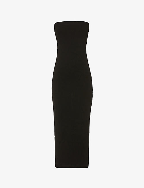 WOLFORD: Aurora strapless stretch-knitted midi dress