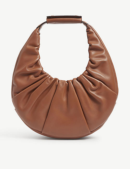STAUD: Moon ruched leather shoulder bag