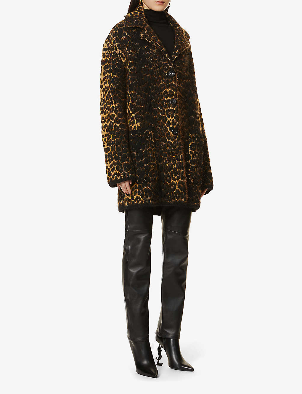 SAINT LAURENT: Leopard-print wool-blend coat