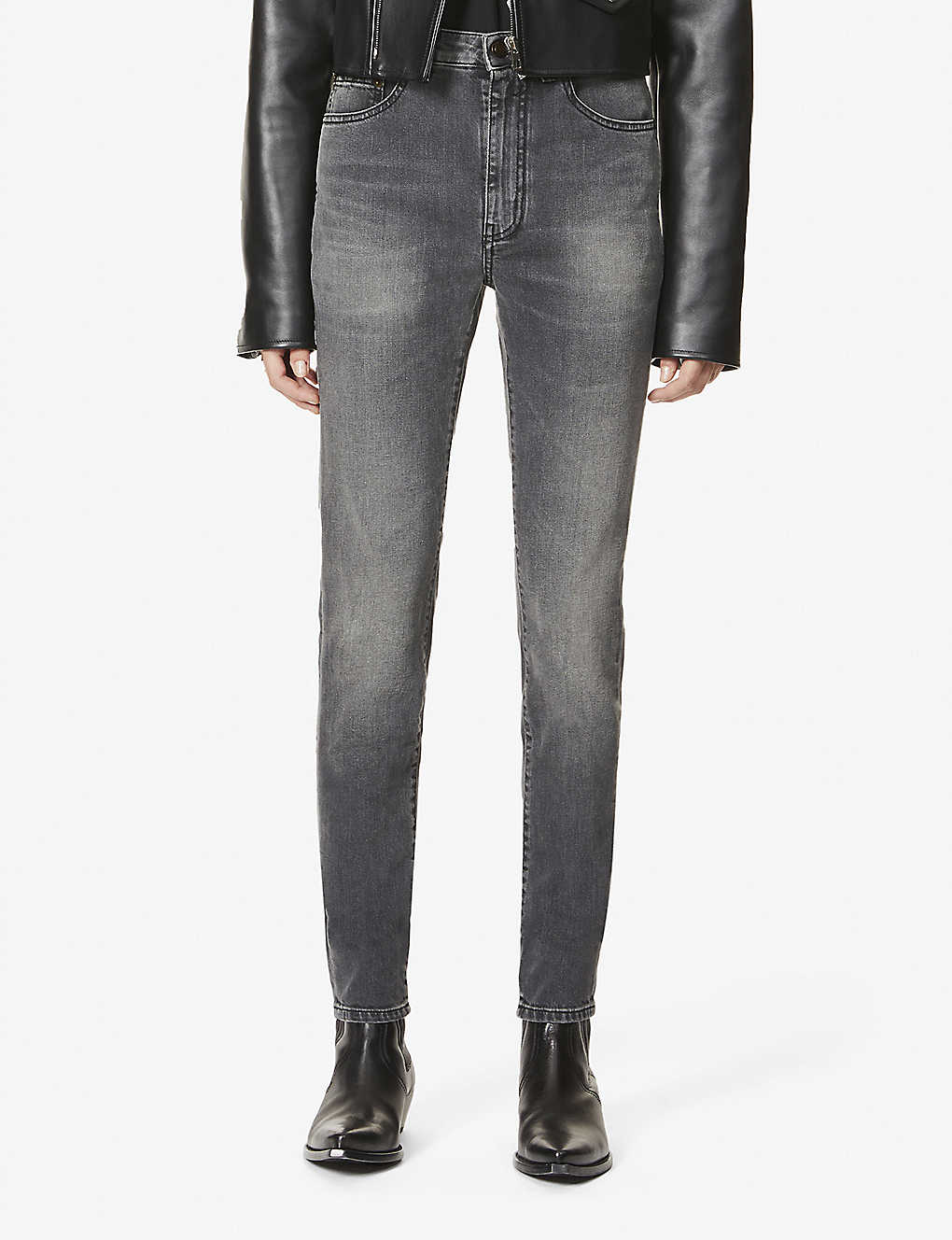 SAINT LAURENT: Faded skinny high-rise stretch-denim jeans