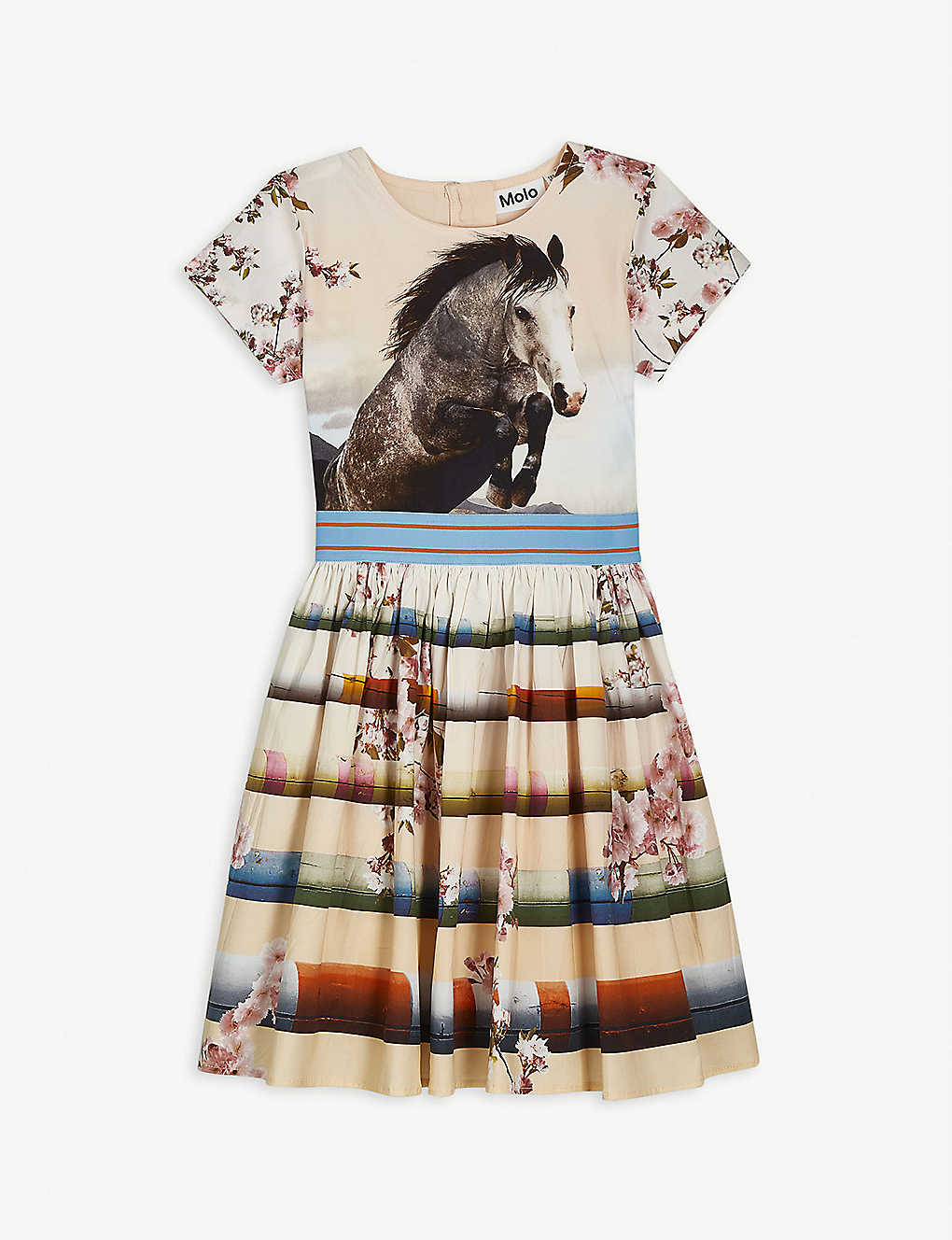 MOLO: Floral horse-floral stretch-organic cotton dress 3-12 years
