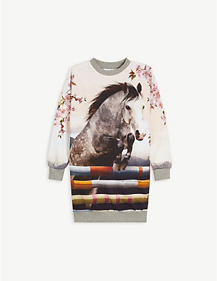 MOLO: Horse-print organic cotton sweatshirt dress 3-12 years