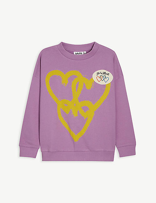 MOLO: Retro heart organic-cotton sweatshirt 4-14 years