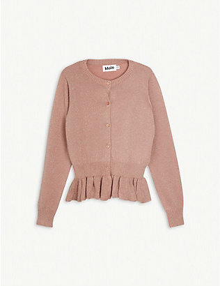 MOLO: Frilled-hem peplum cotton-blend cardigan 3-14 years